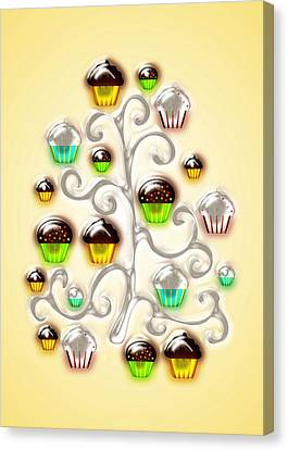 Cupcake Glass Tree Canvas Print