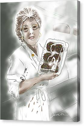Canvas Print featuring the painting Cupcake Marge by Jean Pacheco Ravinski