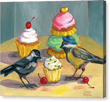 Cupcakes And Chickadees Canvas Print by Susan Thomas