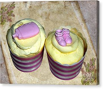 Cupcakes - Booties And Baby Bottle Canvas Print by Kaye Menner