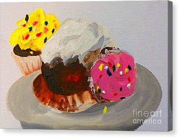 Canvas Print featuring the painting Cupcakes by Marisela Mungia