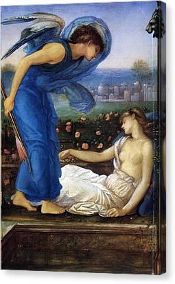 Cupid Finding Psyche Canvas Print by Edward Burne Jones