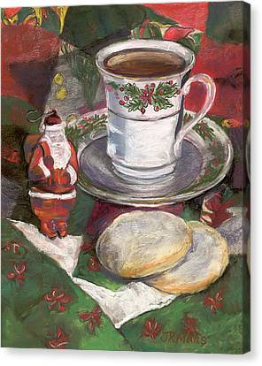 Canvas Print featuring the pastel Cuppa Christmaas Tea by Julie Maas