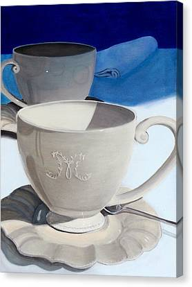 Cups Of Coffee In A Quiet Room Canvas Print by Karyn Robinson