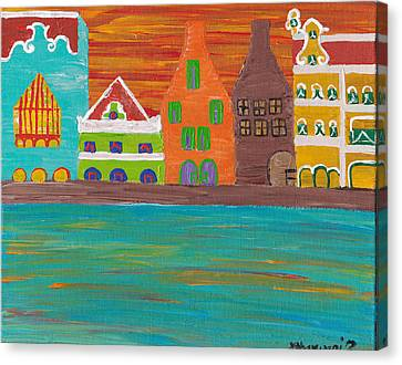 Curacao's Handelskade Abstract Canvas Print by Melissa Vijay Bharwani