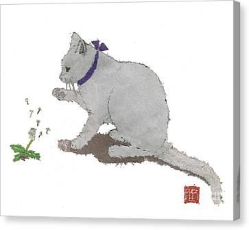 Cat Art Hand-torn Newspaper Painting  Canvas Print by Keiko Suzuki