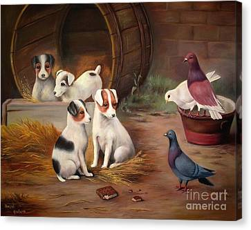 Canvas Print featuring the painting Curious Friends by Hazel Holland