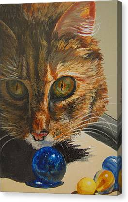 Canvas Print featuring the painting Curious by Karen Ilari