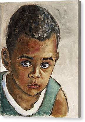 Curious Little Boy Canvas Print by Xueling Zou