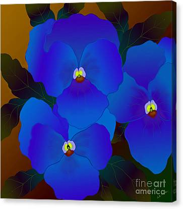 Canvas Print featuring the digital art Curious Pansies by Latha Gokuldas Panicker