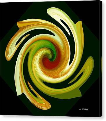 Curl II In Green And Gold Canvas Print by Roy Erickson