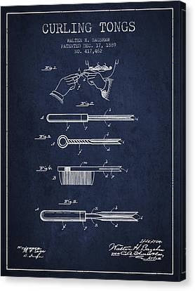 Living-room Canvas Print - Curling Tongs Patent From 1889 - Navy Blue by Aged Pixel