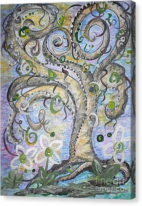 Curly Tree In Fantasy Land Canvas Print by Eloise Schneider