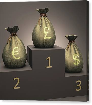 Currencies On A Podium Canvas Print by Ktsdesign