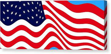Current American Flag Cropped X 2 Wide Canvas Print by L Brown