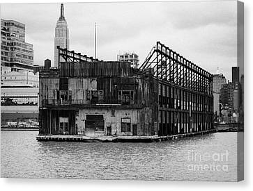 Manhatten Canvas Print - Currently Condemned Pier 64 On The Hudson River New York City Usa by Joe Fox