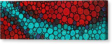 Stained Glass Canvas Print - Currents - Red Aqua Art By Sharon Cummings by Sharon Cummings