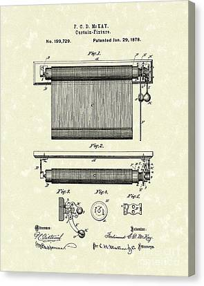 Curtain Fixture 1878 Patent Art Canvas Print by Prior Art Design