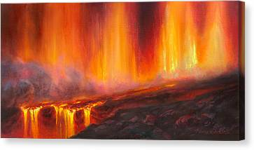 Combustion Canvas Print - Erupting Kilauea Volcano On The Big Island Of Hawaii - Lava Curtain by Karen Whitworth