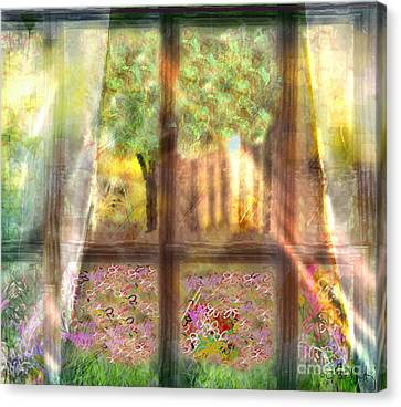 Canvas Print featuring the digital art Curtains by Gabrielle Schertz