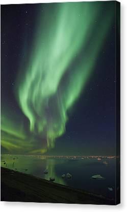 Curtains Of Aurora Borealis Canvas Print by Hugh Rose