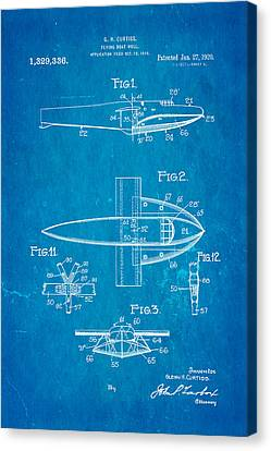 Curtiss Flying Boat Patent Art 1920 Blueprint Canvas Print by Ian Monk