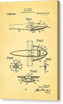 Curtiss Flying Boat Patent Art 1920 Canvas Print by Ian Monk