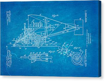 Curtiss Hydroaeroplane Patent Art 2 1922 Blueprint Canvas Print by Ian Monk
