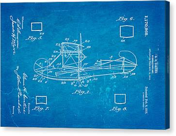 Curtiss Hydroplane Patent Art 1916 Blueprint Canvas Print by Ian Monk