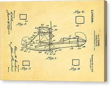 Curtiss Hydroplane Patent Art 1916 Canvas Print by Ian Monk