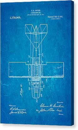 Curtiss Hydroplane Patent Art 2 1916 Blueprint Canvas Print