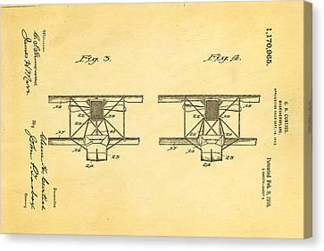Curtiss Hydroplane Patent Art 3 1916 Canvas Print