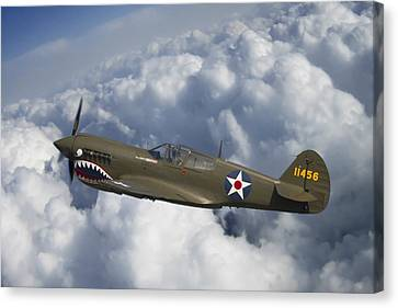 P-40 Canvas Print - Curtiss P-40 Warhawk Flying Tigers by Adam Romanowicz
