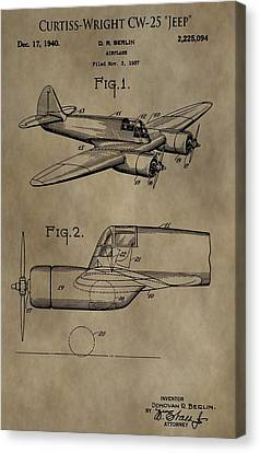 Curtiss-wright Airplane Patent Canvas Print by Dan Sproul