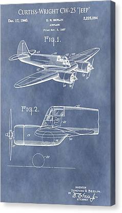 Curtiss-wright Cw-25 Patent Canvas Print by Dan Sproul