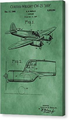 Curtiss-wright Patent Green Canvas Print by Dan Sproul