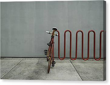 Canvas Print featuring the photograph Curved Rack In Red - Urban Parking Stalls by Steven Milner