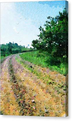 Curved Road Painting Canvas Print by George Fedin and Magomed Magomedagaev