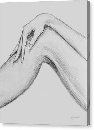 Black And White Human Figure Drawing Canvas Print - Curves by Kume Bryant