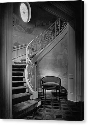 Curving Staircase In The Home Of  W. E. Sheppard Canvas Print by Maynard Parker