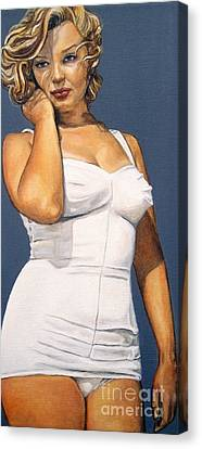 Curvy Beauties - Marilyn Monroe Canvas Print by Malinda  Prudhomme