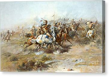 Custers Fight Canvas Print by Pg Reproductions