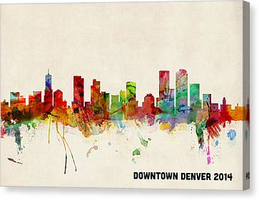 Custom Denver Skyline Canvas Print by Michael Tompsett