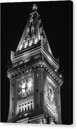 Custom House Tower Canvas Print - Custom House In Boston Black And White by John McGraw