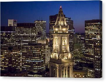 Custom House Tower At Night Canvas Print