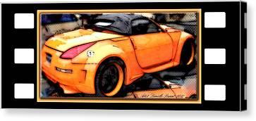 Custom Orange Sports Car Canvas Print by Danielle  Parent