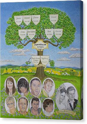 Customized Family Tree Wedding Anniversary Canvas Print by Alix Mordant