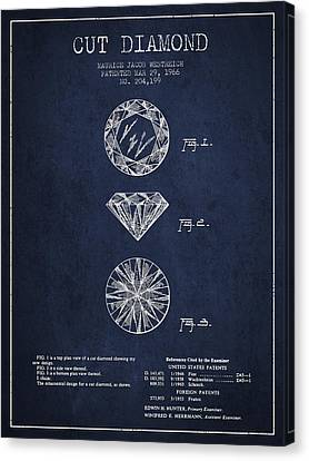 Cut Diamond Patent From 1966 - Navy Blue Canvas Print by Aged Pixel