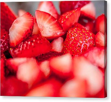 Cut Strawberries Canvas Print by Todd Soderstrom