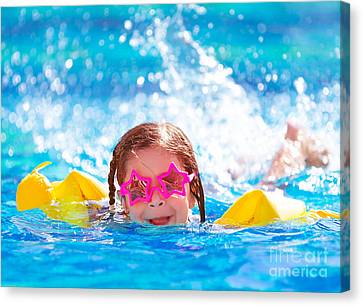 Cute Arabic Girl In The Pool Canvas Print by Anna Om